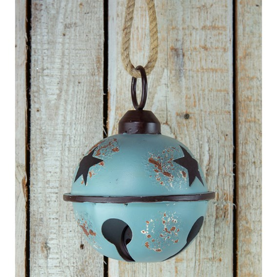 Blue Metal Bauble with Star Design