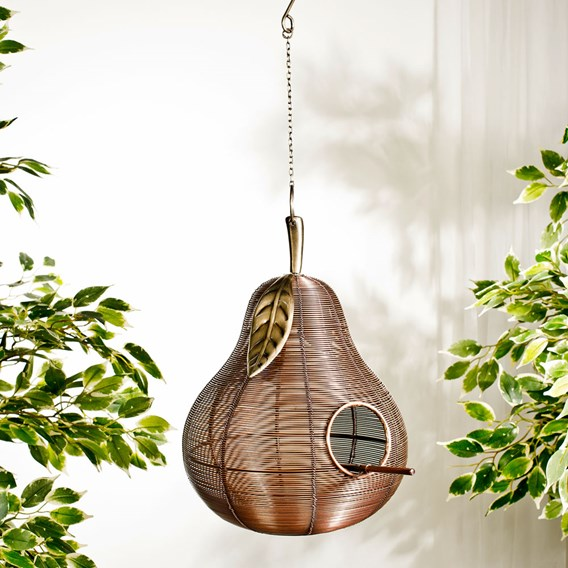Metal Pear Shaped Bird House