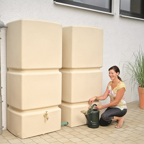 Rainwater Wall Tank with Filter Collector - Sandstone