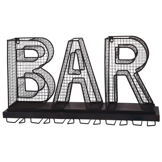 Metal 'BAR' Sign and Wine Glass Holder