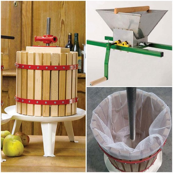 12 Litre Fruit Press Inc Pulp Bag & Fruit Mill Crank Handle