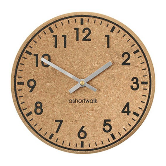 Chunky Cork  Clock - Black Face - Silver Hands