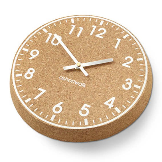 Chunky Cork  Clock - White Face - Silver Hands